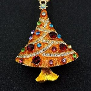 Golden Christmas Tree Necklace